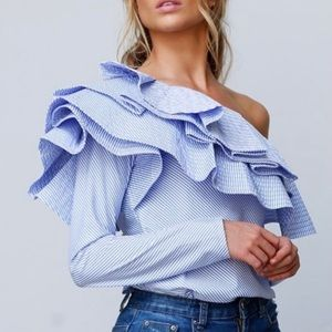 Luxe By Stylekeepers Blue Ruffle Blouse